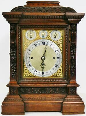 Rare Antique W & H Carved Oak Triple Fusee Musical 8 Bell & 8 Gong Bracket Clock
