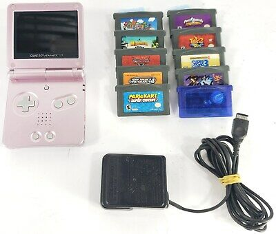 Pink Nintendo Gameboy Advance Sp Ags-101 Bundle W/ 10 Games ~Tested Working~