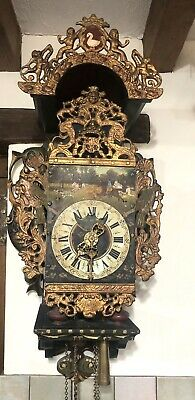 Antique Dutch Weighted Wall Clock With Verge Escapement