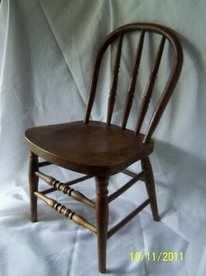 "Antique Heywood/Wakefield Child's Chair 24 1/2"" Tall Solid Oak Late 1800's"