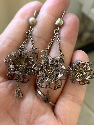 Antique Vintage Art Deco Sterling Silver Filigree Flower Earrings And Ring