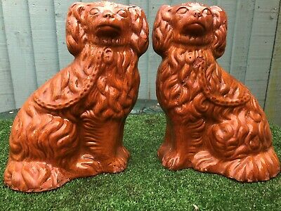 SUPERB PAIR: 19thC STAFFORDSHIRE SEATED TREACLE GLAZE SPANIEL DOGS c1880s