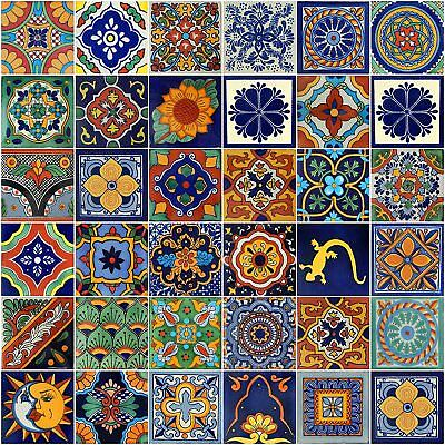 Set Of 100 Mexican Talavera Hand Made Ceramic Tiles Assorted 4'