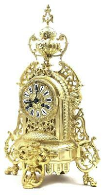 Antique Mantle Clock French Superb 1870s Embossed Pierced Bronze Bell Striking