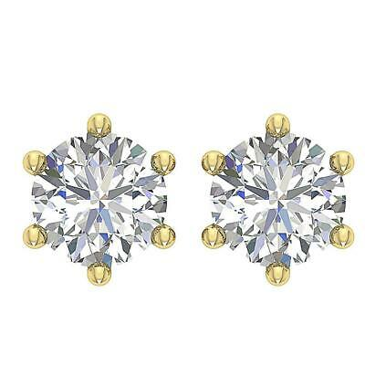 Solitaire Studs Earrings Round Diamond SI1 G 0.5 Ct 14K White Yellow Rose Gold