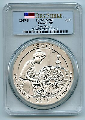 2019 P 25C 5oz Silver Quarter Lowell PCGS SP69 First Strike