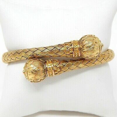 """1880's Victorian Etruscan Revival Crossover Bracelet 18 kt Yellow Gold 7"""" A5478"""