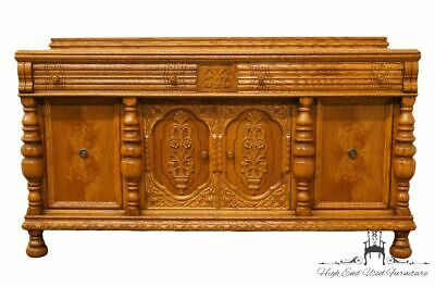 "1920's Antique Jacobean Gothic Revival Solid Oak 67"" Buffet / Sideboard"