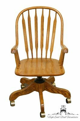 WINNERS ONLY Solid Oak Country French Adjustable Wheeled Office Chair