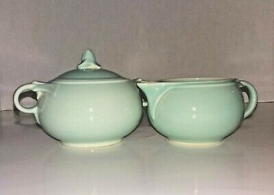 VTG T.S.&T. Lu-Ray Pastels U.S.A. Surf Green MCM Creamer and Sugar Bowl with Lid