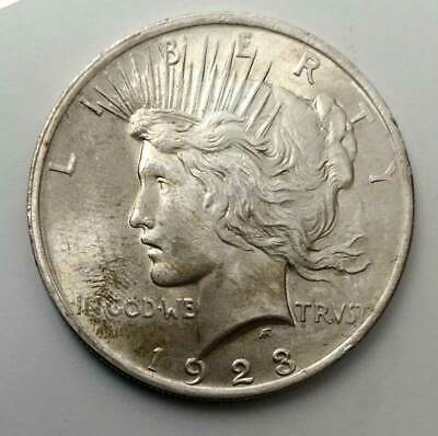 1923 Peace Silver Dollar. Raw Uncirculated. Auction!
