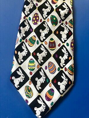 EASTER THEME NOVELTY TIE - NWOT - WHITE BUNNY RABBITS with COLORFUL EASTER EGGS
