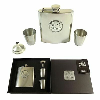 Best Man Wedding Stainless Steel Hip Flask 6Oz Funnel Shot Glasses - A.e