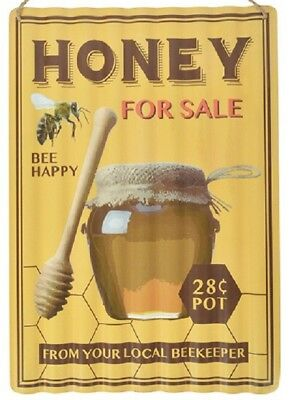 Tin Sign Wavy, Wall Honey, Honey for sale Advertisement 15 11/16x11 13/16in