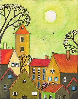 Aceo Print Of Painting Ryta Abstract Folk Art Black Cat Country Decor Primitive