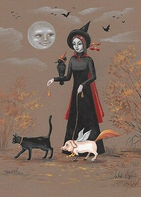 ACEO print of PAINTING HALLOWEEN RYTA WITCH MINI PIG BLACK CAT CROW FANTASY ART