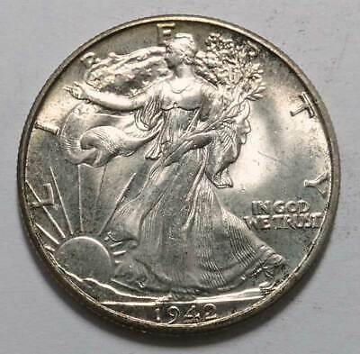 1942 Liberty Walking Silver Half Dollar. Uncirculated++++. AUCTION!
