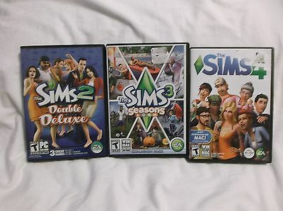 The Sims 2 Double Deluxe, Sims 3 Seasons Ex. Pack, Sims 4.  Complete With Codes