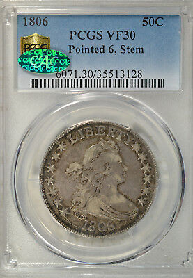1806 Draped Bust half dollar, PCGS VF30 CAC