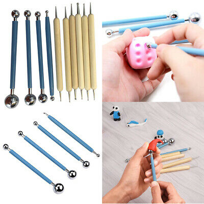 10pcs Sculpting Embossing Art Pen Pottery Clay Dotting Tools Round Ball Styluses