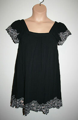 5020265054d563 NEW Womens FOREVER 21 Black & Gray Boho Lace Trim Open Back Dress Small S