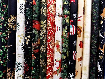 "Assorted Christmas Fabric 30 Pc Charm Pack 5"" Fabric Squares  Premium Cotton"