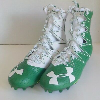 d3213fbfd439 Under Armour HIGHLIGHT MC Linemen Football Cleats GREEN WHITE 1269693 312  SIZE 9