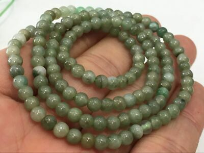 5mm 100% Natural A Oil Green Emerald Jade Beads ~Necklace Have certificate2863