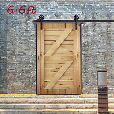 6.6 Black Sliding Barn Door Hardware Track Kit Antique Door Hardware Roller Set