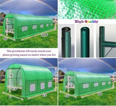 10/12/16/20ft Large Walk-In Hot Greenhouse UV+ Tarp Outdoor Plant Gardening
