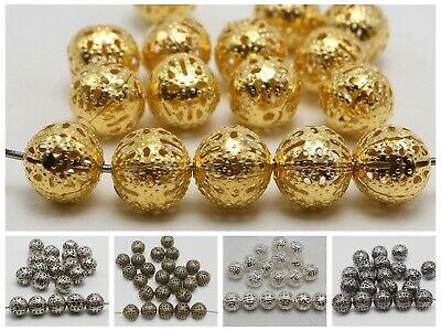 100 Metal Round Filigree Spacer Beads 10mm Silver Gold Bronze Jewelry Findings
