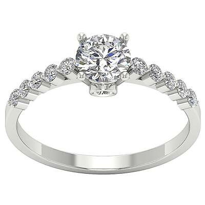 Solitaire Anniversary Ring I1 G 1.26 Ct Round Cut Diamond 14k White Gold RS 5-9