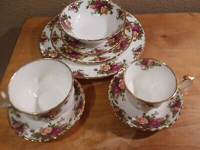 8 Pc Place Settings Royal Albert Old Country Roses China Plates Bowls Cups +