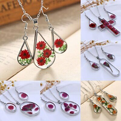 Natural Real Dried Flower Jewelry Sets Glass Floating Locket Necklace Earrings