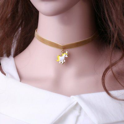 Vintage Velvet Ribbon Horse Charm Pendant Necklace Choker Women Jewelry Gifts