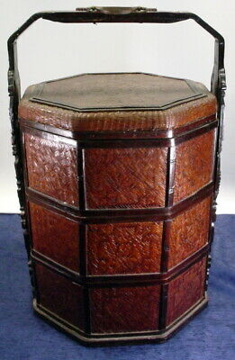 Antique 3 Tier Chinese Wedding Basket Dark Wicker Carved Wood W/Brass Trim & Lid