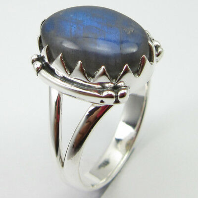 Labradorite Prong Setting Ring Size 7.75 925 Solid Sterling Silver Fashion Gift