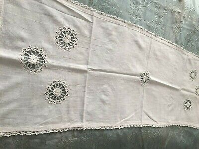 Beautiful Vintage Hand-Woven Table Runner With Handmade Lace