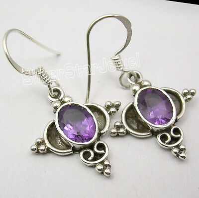 """Natural AMETHYST ANTIQUE LOOK Jewelry ! 925 Solid Silver OXIDIZED Earrings 1.3"""""""
