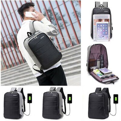 Men Waterproof Anti-theft USB Port Laptop Backpack Shoulder Bag Rucksack Travel