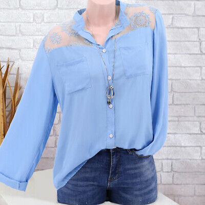 Fashion Women Long Sleeve Lace Shirt Hollow Out Hook Flowers Lace Blouse CB