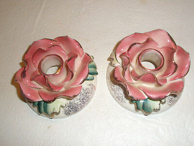 Vintage COMMODORE Porcelain Candlestick Holders Roses