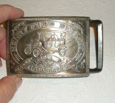Vintage Mens FORD MODEL T Belt Buckle Record Model T Year Brass
