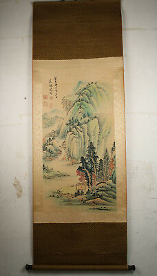big Collect rare old China culture hand Paint mountain Scrolls Vintage wall deco