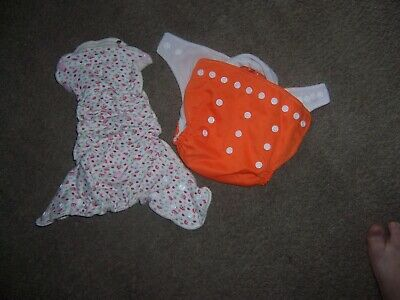 size small fitted cloth diaper one baby land orange pocket diaper