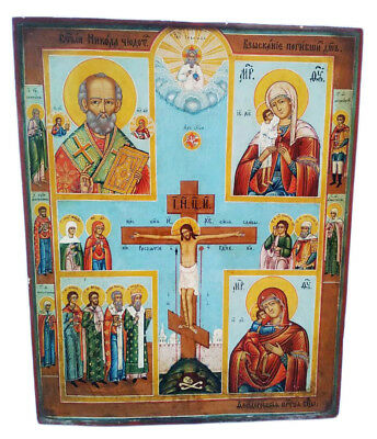 Antique 19th C Russian Hand Painted Icon Four Parts with Selected Saints 53.5 cm