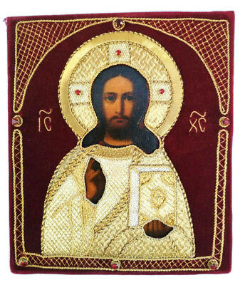 Antique 19th C Russian Hand Painted and Embroidered Wooden Icon of Jesus Christ