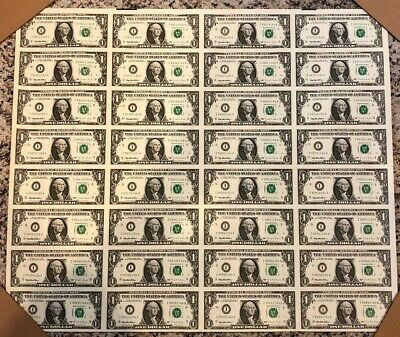 1995 Uncut Currency Full Sheet 32 $1.00 dollar Federal Reserve Notes IA block