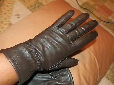 Womens Brown Soft Leather Gathered Elastic Lined Gloves...Sz M/L