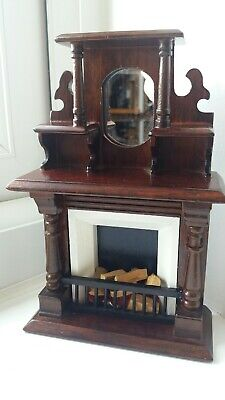 Dolls House Miniatures 1/12 Victorian  Mahogany Fireplace With Mirror & Logs